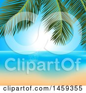 Clipart Of A Palm Branch Over A Sunny Ocean And Sandy Beach Royalty Free Vector Illustration