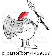 Moodie Character Knight Wearing A Helmet Raising A Shield And Spear