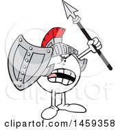 Poster, Art Print Of Shouting Moodie Character Knight Wearing A Helmet Holding A Shield And Spear