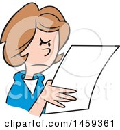 Clipart Of A Mad Woman Reading A Letter Royalty Free Vector Illustration
