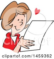 Clipart Of A Happy Woman Reading A Love Letter Royalty Free Vector Illustration