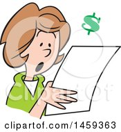Clipart Of A Shocked Woman Reading A Letter With A Dollar Symbol Royalty Free Vector Illustration