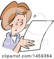 Clipart Of A Sad Woman Crying And Reading A Letter Royalty Free Vector Illustration