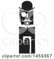 Clipart Of A Black And White Retro Man With A Hat Manacle And Cane Royalty Free Vector Illustration
