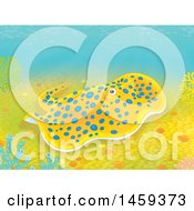 Clipart Of A Blue Spotted Sting Ray On A Coral Reef Royalty Free Illustration