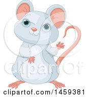Clipart Of A Cute Gray Mouse Waving Royalty Free Vector Illustration by Pushkin