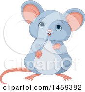 Clipart Of A Cute Chubby Gray Mouse Royalty Free Vector Illustration by Pushkin