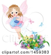 Clipart Of A Toddler Fairy Girl Watering A Flower Garden With Fluttering Butterflies Royalty Free Vector Illustration