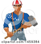 Clipart Of A Handsome Muscular Black Male Worker Holding A Demolition Hammer And American Themed Helmet And Shirt Royalty Free Vector Illustration by Pushkin
