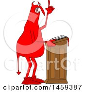 Poster, Art Print Of Chubby Red Devil Preaching At The Pulpit