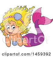 Clipart Of A Happy Mermaid Resting Her Head In Her Hands Royalty Free Vector Illustration by visekart