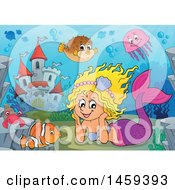 Clipart Of A Happy Mermaid Resting Her Head In Her Hands Near An Underwater Castle Royalty Free Vector Illustration