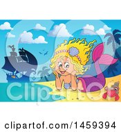 Clipart Of A Happy Mermaid Resting Her Head In Her Hands On A Beach With A Ship In The Background Royalty Free Vector Illustration