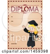 Clipart Of A Graduate Girl School Diploma Design Royalty Free Vector Illustration by visekart