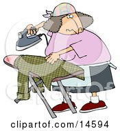 Woman Ironing A Shirt On An Ironing Table While Watching TV Clipart Illustration