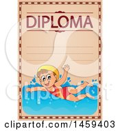 Girl Swimming School Diploma Design
