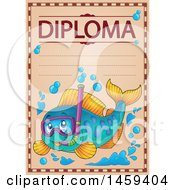 Snorkeling Fish School Diploma Design