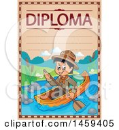 Clipart Of A Boating Scout Boy School Diploma Design Royalty Free Vector Illustration