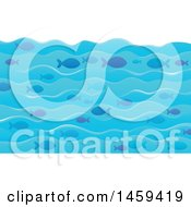 Clipart Of A Background Of Ocean Waves And Fish Royalty Free Vector Illustration by visekart