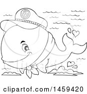 Clipart Of A Black And White Captain Whale Splashing Water Royalty Free Vector Illustration