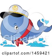 Clipart Of A Captain Whale Splashing Water Royalty Free Vector Illustration by visekart