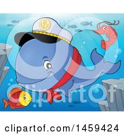 Clipart Of A Shrimp Fish And Captain Whale Royalty Free Vector Illustration
