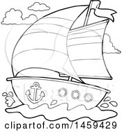 Clipart Of A Black And White Sailboat Royalty Free Vector Illustration by visekart