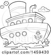 Clipart Of A Black And White Boat Royalty Free Vector Illustration