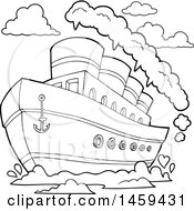 Clipart Of A Black And White Steam Ship Royalty Free Vector Illustration by visekart