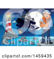 Clipart Of A Male Sailor Smoking A Pipe On A Cliff At Night Royalty Free Vector Illustration
