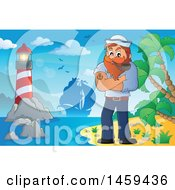 Clipart Of A Male Sailor Smoking A Pipe On A Beach Royalty Free Vector Illustration