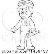 Clipart Of A Black And White Sailor Boy Holding A Telescope Royalty Free Vector Illustration