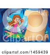 Clipart Of A Fairy Girl Holding A Flower In A Cave Next To A Parchment Scroll Royalty Free Vector Illustration by visekart