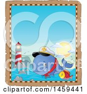 Clipart Of A Parchment Border Of A Fish And Captain Whale Splashing Water Near A Lighthouse Royalty Free Vector Illustration by visekart