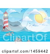 Clipart Of A Sunny Sky And Lighthouse Ocean Background Royalty Free Vector Illustration