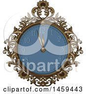 Clipart Of A Fancy Ornate Watch Or Clock Royalty Free Vector Illustration