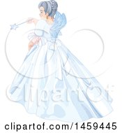 Clipart Of A Rear View Of A Fairy Godmother Using A Magic Wand Royalty Free Vector Illustration