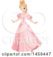 Clipart Of A Pretty Princess Twirling In A Pink Dress Royalty Free Vector Illustration