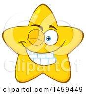 Clipart Of A Cartoon Winking Star Mascot Character Royalty Free Vector Illustration