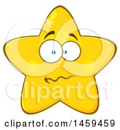 Clipart Of A Cartoon Anxious Star Mascot Character Royalty Free Vector Illustration