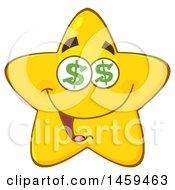 Poster, Art Print Of Cartoon Greedy Star Mascot Character With Dollar Sign Eyes
