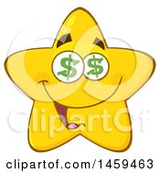 Clipart Of A Cartoon Greedy Star Mascot Character With Dollar Sign Eyes Royalty Free Vector Illustration