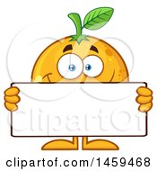 Navel Orange Fruit Mascot Character Holding A Blank Sign