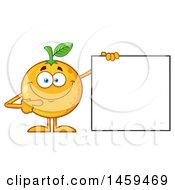 Navel Orange Fruit Mascot Character Pointing To A Blank Sign