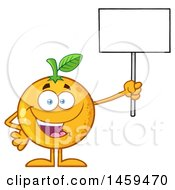Clipart Of A Navel Orange Fruit Mascot Character Holding Up A Blank Sign Royalty Free Vector Illustration