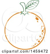 Clipart Of A Lineart Navel Orange Fruit Royalty Free Vector Illustration by Hit Toon