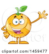 Clipart Of A Navel Orange Fruit Mascot Character Waving Royalty Free Vector Illustration