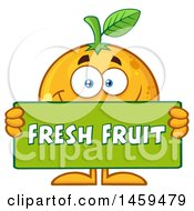 Clipart Of A Navel Orange Mascot Character Holding A Fresh Fruit Sign Royalty Free Vector Illustration