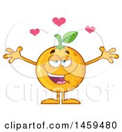 Clipart Of A Loving Navel Orange Fruit Mascot Character With Open Arms Royalty Free Vector Illustration