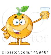 Clipart Of A Navel Orange Fruit Mascot Character Holding Up A Glass Of Juice Royalty Free Vector Illustration